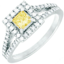 Fancy Yellow Princess & Round Cut GIA Certified Diamond Engagement Ring 2 CT 18k
