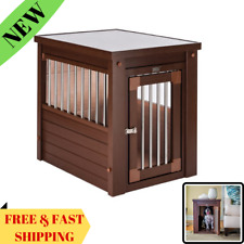 Indoor Medium Dog Crate Solid Wood Pet Kennel Side End Table Puppy Cage Doghouse
