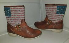 Shoedazzle Womens American Flag Cowgirl Cowboy Boots 7.5 Faux Leather Brown Stud