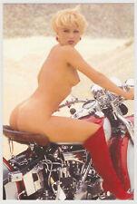 Postcard Pinup Risque Nude Girl Stunning BIKER Extremely Rare BIKE Postcard 7956