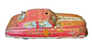 Vintage Marx Tin Lithograph Fire Dept. Chief Wind Up Toy Vehicle, Wind Up Works