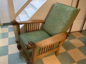 Antique Victorian Oak Claw Foot Lions Head Morris Chair/ Recliner