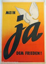 DDR Wahlplakat 1951 ,Mein ja dem Frieden', Landesfriedenskomite' Sachsen