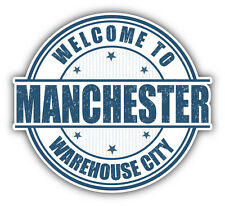 "Manchester City England Grunge Travel Stamp Car Bumper Sticker Decal 5"" x 4"""