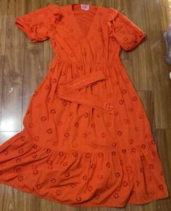 USED Kate Spade 16 Orange Cotton Eyelet Puff sleeve Midi Dress