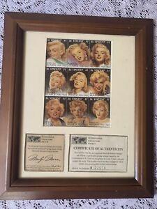 Marilyn Monroe St. Vincent $1 , 9 Stamps In Frame