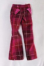 Barbie doll dark pink plaid flare pants wool clothes NICE