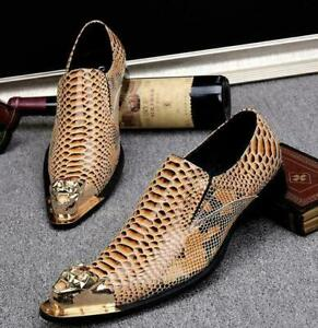Mens Pointed Toe Formal Dress Nightclub Leather Punk Snakeskin Stage Metal Shoes