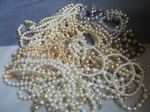 Mixed lot of Faux Pearl Costume Jewellery for Wear or Crafts - 650 grams