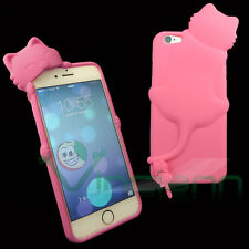 Custodia cover silicone KIKI gatto FUCSIA+tappo anti polvere per iPhone 6 4.7 6S