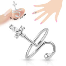 Cross Multi-Paved Cz Gems Adjustable Nail Ring / Toe Ring