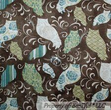BonEful Fabric FQ Cotton Quilt Brown Blue Green Flower OWL Bird Calico Cream Dot