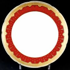 12 Antique Minton Red  Plates: gold encrusted/gold beading/acid etched border