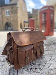"""Unisx Genuine Brown Leather Vintage Messenger Shoulder Laptop Briefcase Bag 15"""""""