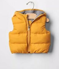 GAP Baby Boy 6-12 Months NWT Mustard Yellow Warmest Zip-Up Puffer Hoodie Vest
