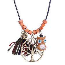 Natural Wood Brown Owl Symbol of Brightness Leather Chain Pendant Necklace N538