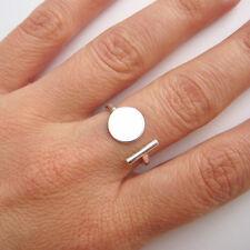 Bague ouverte trait et pastille en argent massif 925 T. 52,56,58,60 BA83