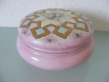 1890s Limoges Ak Klingenberg Dwenger Satin Pink Gold Rose Porcelain Trinket Box
