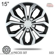 """For Honda New 15"""" Hubcaps Spyder Performance Black and Silver Wheel Covers 553"""