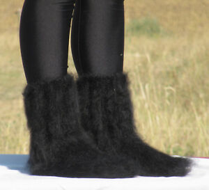 FUZZY MOHAIR Hand knitted BLACK unisex socks handcrafted leg warmers soft Fluffy