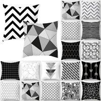 Black & White Geometric Modern Cushion Cover Waist Throw Pillow Case Home Decors