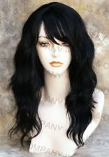 HUMAN HAIR Blend Wig Wavy Jet Black Heat Safe Bangs WBMS 1