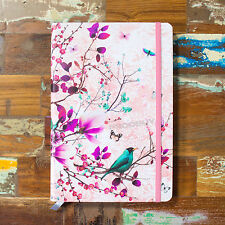 Floral Birds A5 Paper Notebook Lined 192 Page Hardback Journal Shabby Chic Gift