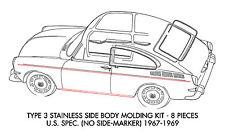 New VW Type 3 Body Molding Kit Stainless Steel 1967-1969 U.S. Spec