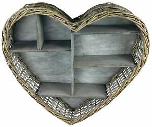 Heart Shelf Wicker Wooden Wall Mounted Storage Display Decor Unit Rustic 52cm