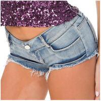 Women's Sexy Summer Button Low Waist Denim Jeans Shorts Mini Hot Pants Beach