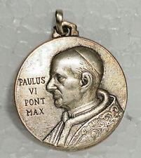 ANTIQUE VINTAGE EUROPEAN SILVER RELIGIOUS MEDAL PAULUS VI -1963s