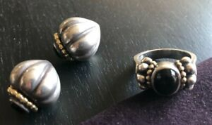 Steven Lagos CaviarCollection Onyx Earrings & Ring Set 18K Gold Sterling Silver
