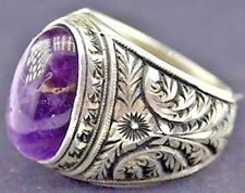 Men's sterling silver ring, natural amethyst gemstone, steel pen crafts handmade