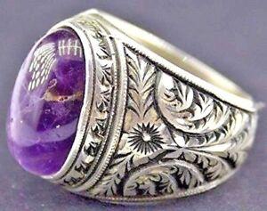 Men's 925 Sterling Silver Ring, Natural Amethyst Gemstone, Steel Pen Crafts