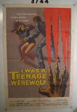 I Was a Teenage Werewolf Orig, 1sh Movie Poster 57 Monster attacking sexy babe!