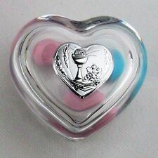Bomboniere portagioie scatoline vetro piastrina cuore calice comunione