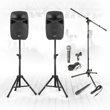 """VPS082 8"""" PA Speaker Complete Stage Sound System with Stands & Microphones 400w"""