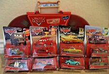 DISNEY CARS RACE CASE AND TRACK W/ 8 CARS MATER MCQUEEN RAMONE SHERIFF SARGE +