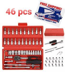 """46PCS Socket Ratchet Wrench Set Metric Sae Spanner Car Repair Tool Kit 1/4""""Drive"""