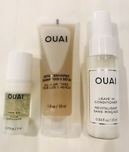 OUAI Hair Care 3 piece Sephora Set Hair Oil Leave in Conditioner Shampoo NEW