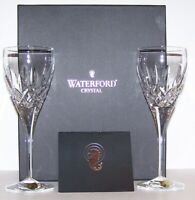 "PAIR OF SIGNED WATERFORD CRYSTAL LISMORE NOUVEAU 8 1/4"" WINE GLASSES IN BOX"