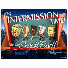 Intermission Time Visit Our Snack Bar Metal Sign Dancing Snacks Drive-In 16 x 12