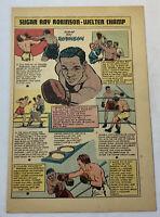 1950 boxing cartoon page ~ SUGAR RAY ROBINSON