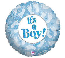 """It's A Boy Foot Prints Round 18"""" Foil Balloon Baby Blue Boy Shower Party 3 Pack"""