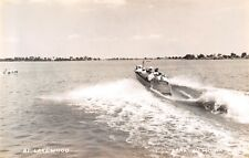 Lake View Iowa~Speedboating at Lakewood~Bathers in Caps~1940s Real Photo~RPPC