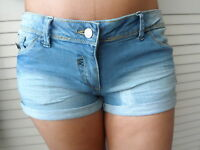 NEW WOMAN'S LADIES TEENAGE COTTON BLUE SHORTS SEXY HOLIDAY BEACH SUMMER WEAR