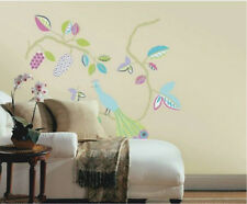 PEACOCK Wall Decal Pastel Sticker Mural Folk Art Decor Leaves Berries Branches