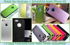Alu Hard Case Cover iPhone 5 5S Etui Tasche Schale Bumper Schutz hülle Folie Set