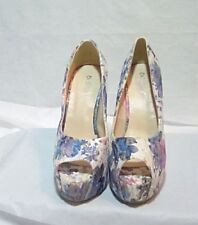 DiJi Girls-Women's White/ Floral and Gold Stitching Peep Toe High Heels-Size 8
