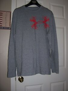Mens UNDER ARMOUR Gray Long Sleeved 'Under Armour Hunt' Shirt Size XL